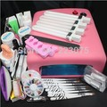 Hot Pro 36W UV GEL Pink Lamp & 8 Brush Nail Art Tool Sets