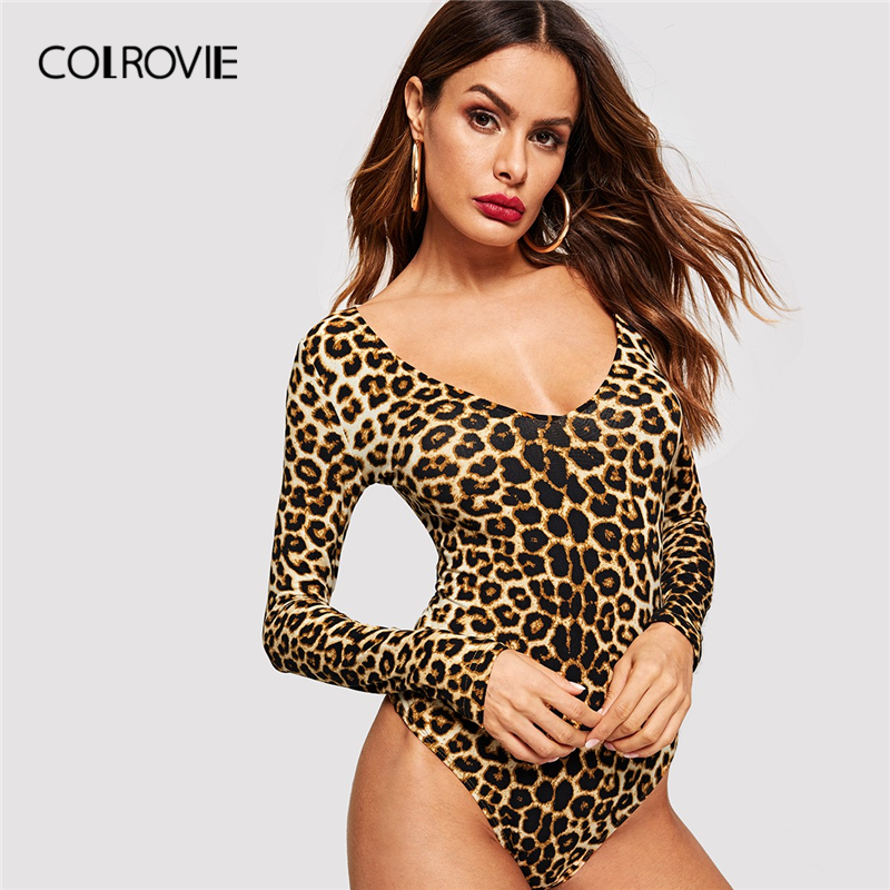 COLROVIE Leopard Print Form Fitting Bodysuit Women Clothing 2019 Winter Office Ladies Bodysuit Fashion Long Sleeve Sexy Bodysuit