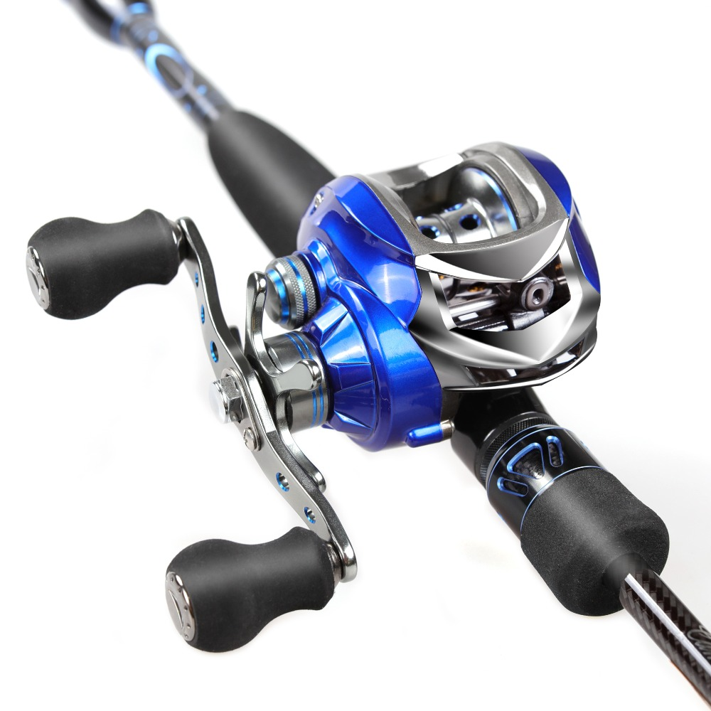 2.1m Fishing Rod And Reel Comb 46T Carbon Rod Bait Casting Reel Left /Right Hand Baitcasting Fishing Rod 2 Sections Fishing Rod