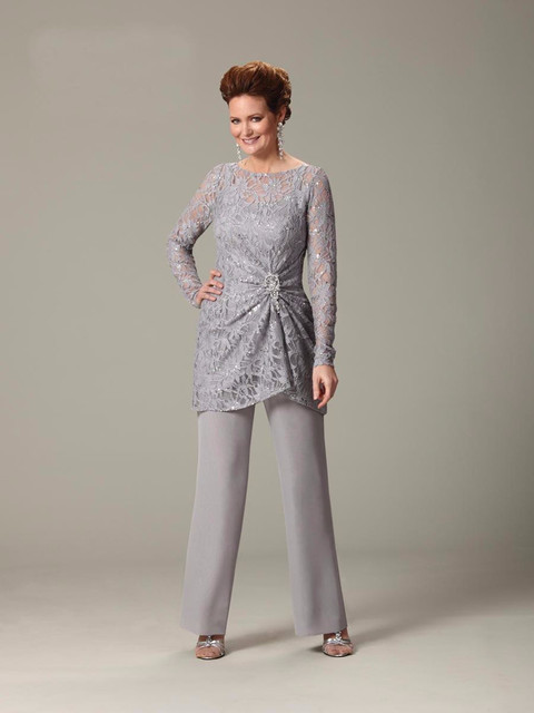 2016 Silver Scoop Lace Pants Suit Chiffon Long Sleeve Semi Formal