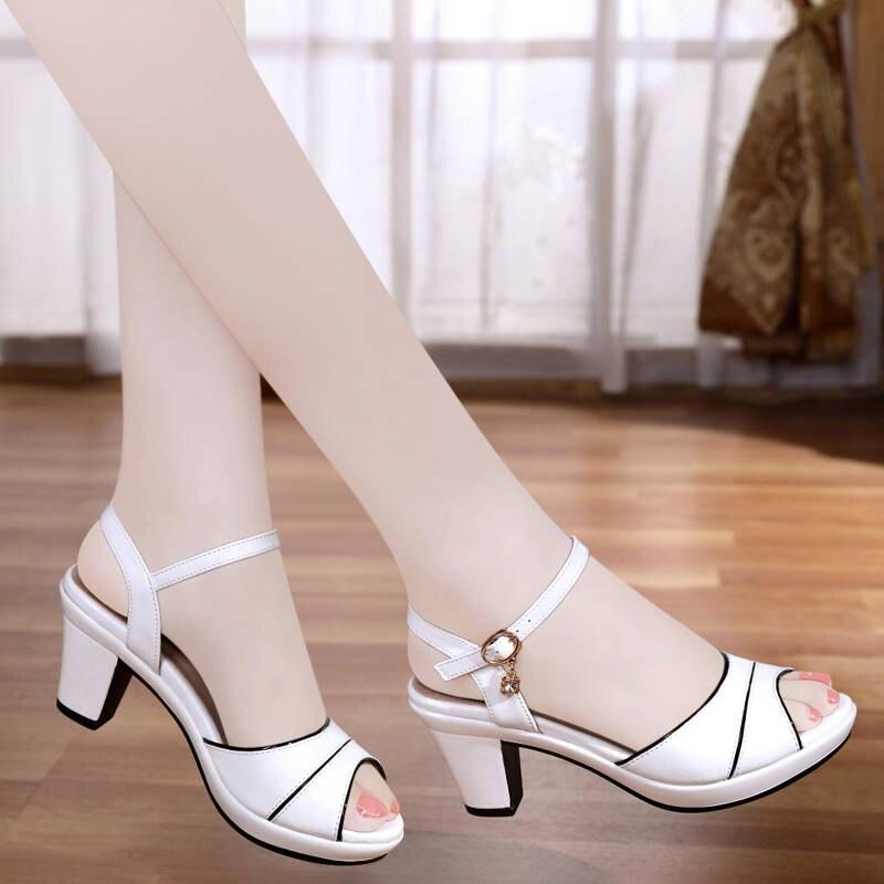 Summer Floral Sandals Women Sandals High Heels Square Heel Woman Buckle Shoe Peep Toe Woman Summer Sandals