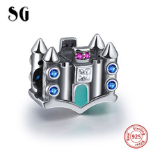 SG 925 Original Sterling Silver Beads Castle House Pendant Fit Pandora Bracelet European Charms Beads For Jewelry Making Gift цена