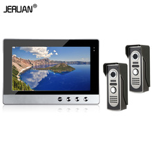JERUAN Brand New Wired 10 inch TFT color Screen Video Door Phone Intercom Kit Set  With Two Night Vision Outdoor Camera