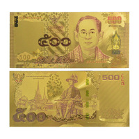 Normal Colour Gold Plated Banknote Thailand 500 Baht Made In China Normal For Gift