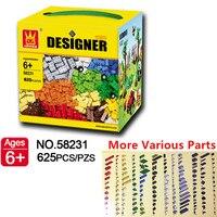 Original Small Building Blocks 625pcs More Various Shapes Accessories Compatible Bricks Educational DIY Toys