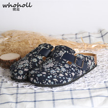 WHOHOLL 2019 New Women Cork slippers Shoes Casual Sandals Flat Slides Female Closed Toe Sandals Buckle Slippers Plus Size 31-42 drkanol new design flat beach slippers summer women slippers shoes double buckle cork casual slides women sandals big size 35 44