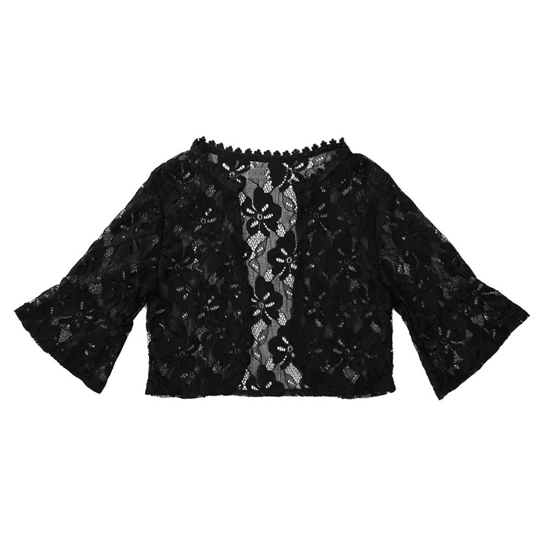Floral Lace Wrap Half Bell Sleeve Black White Bridal Wraps Jacket Bolero 5