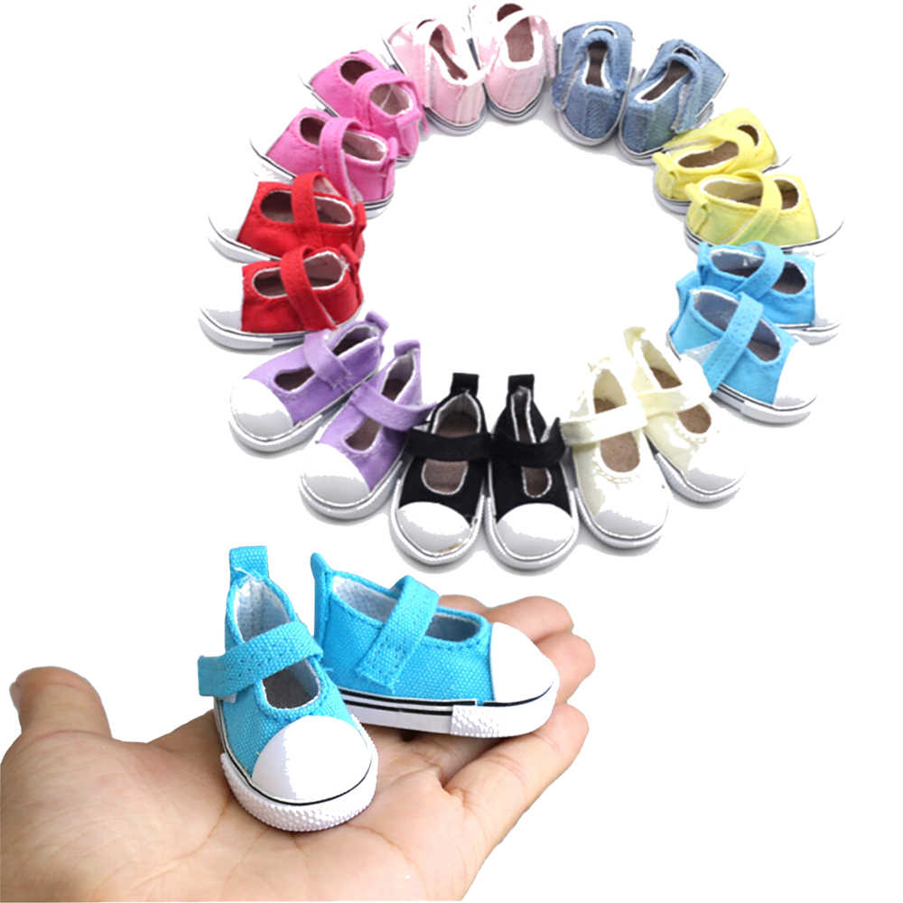 Hot Sale Birthday Gift 1Pair=2pcs 5cm Canvas Shoes For Doll Girl Gift For Baby Dolls Gift Doll Accessories