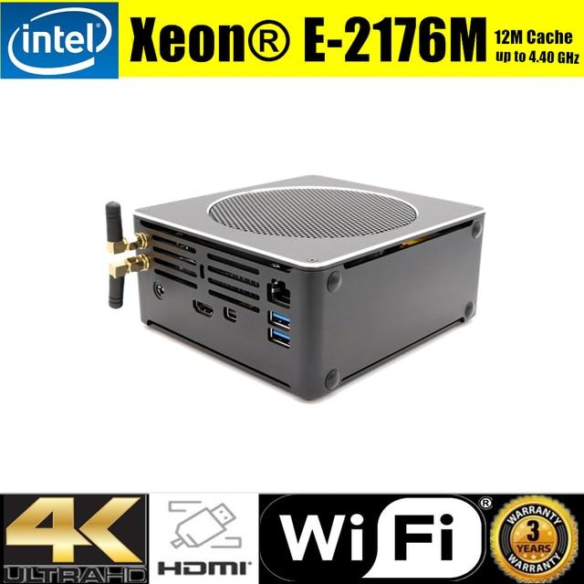 Intel Xeon E-2176M Mini Computer 12M Cache 6 Core 12 Threads 32GB DDR4 2666MHz Mini PC Server Win10 Pro AC Wifi 4K HDMI Mini DP