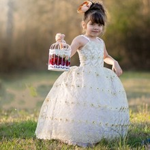 Beautiful Spaghetti Straps Gold Embroidery Flower Girl Dresses Tulle Ball Gown Little Girls Wedding Party Dress 2016