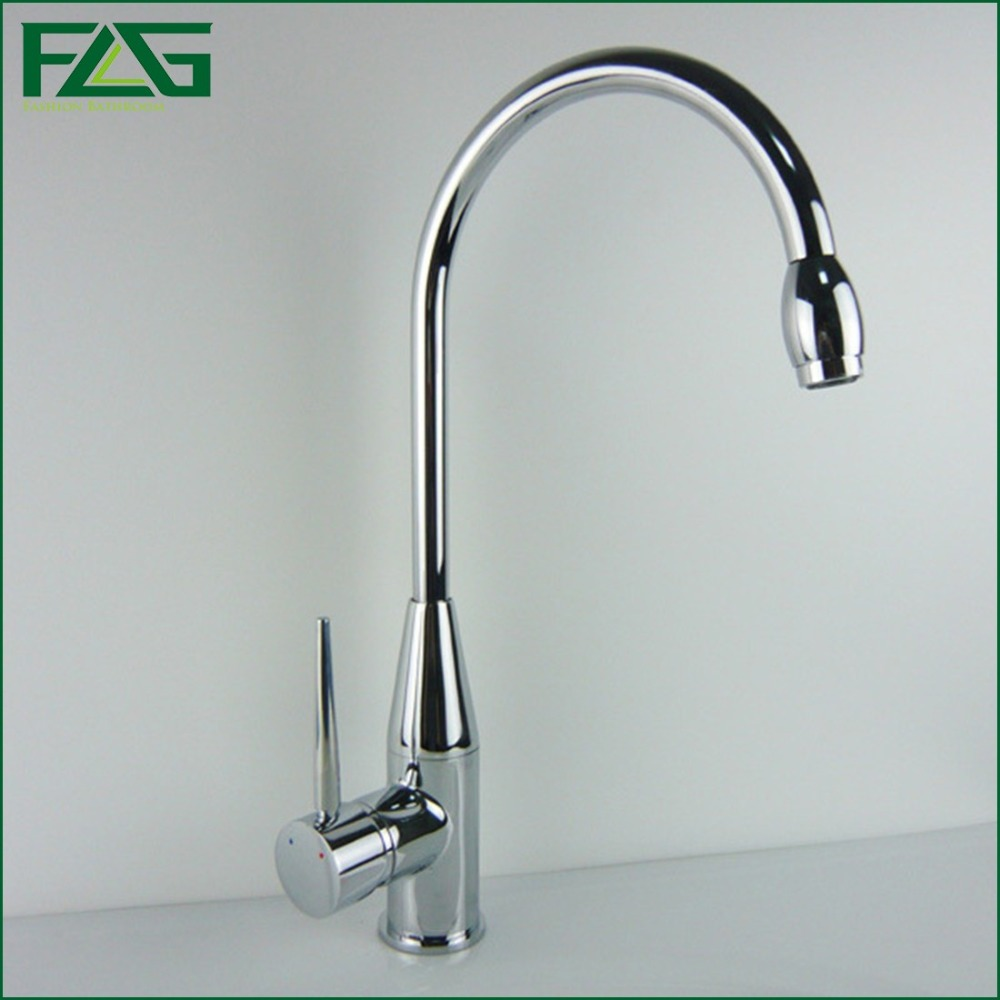 ФОТО Hot Sale Kitchen Faucet Deck Mounted Copper Chrome Rotatable Single Handle Single Hole Water Saver Sink Taps Kitchen FLG8088