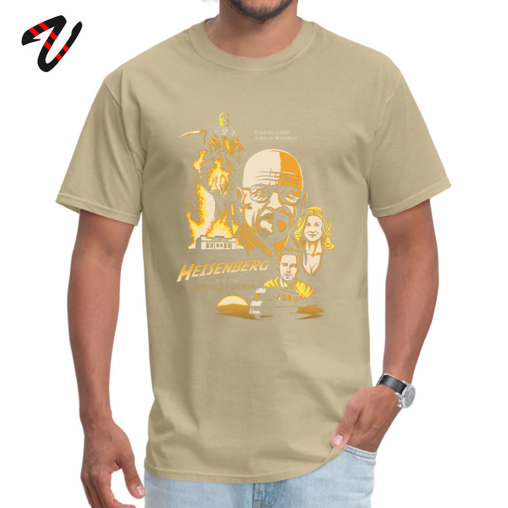 2019 Hot Sale Printed On Simple Style T Shirt O Neck 100% Cotton Men's Tops & Tees Short Sleeve Summer Fall Simple Style Tshirts Heisenberg and the Cartel of Death 2354 beige