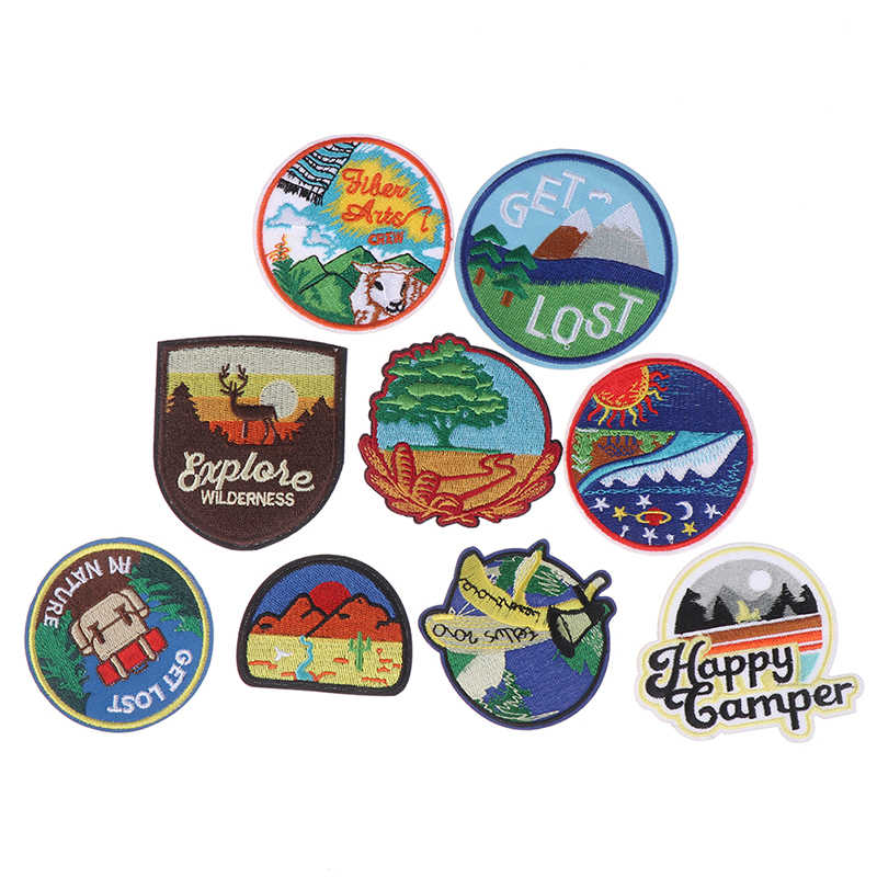 Vervoer Ronde Borduurwerk Patches Stickers voor Strepen op de Rugzak Stickers op Stof Ijzer op Kleding Bos Applicaties