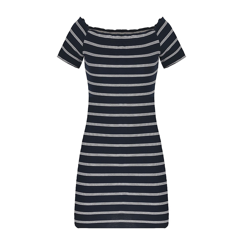 Sexy dress women knitted fashion ruffles slash neck off shoulder striped summer dresses casual plus size beach bandage dress women sexy slim summer dress knitted bandage ruffles strap mini knitting dresses women club dresses