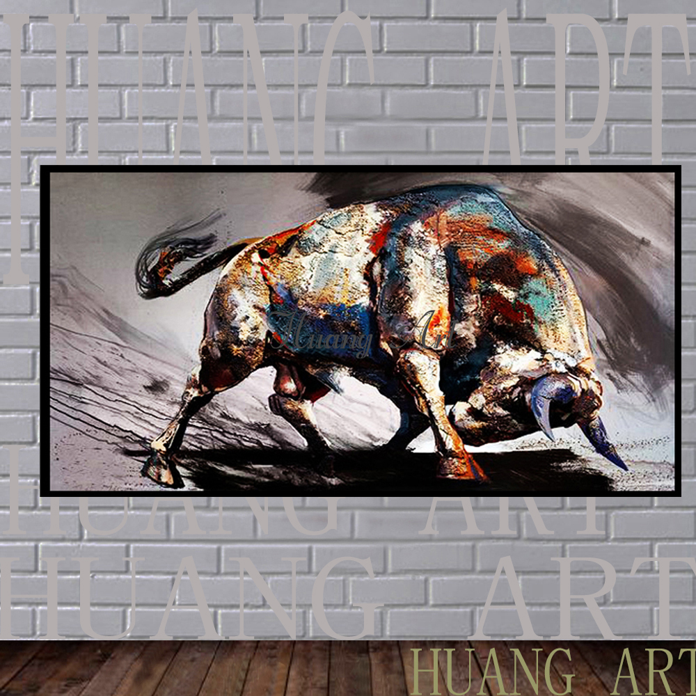 Hand painted paintings of modern minimalist black and white bull cattle fortune living room hall aisle background picture