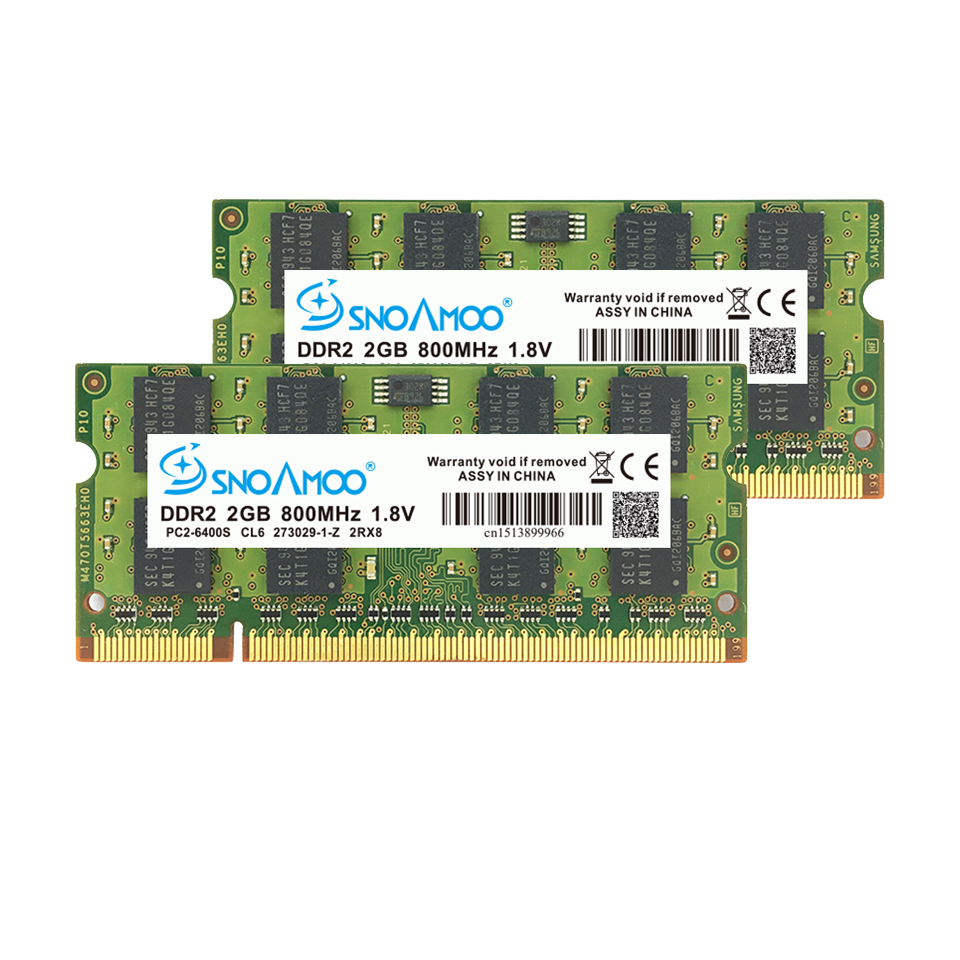 SNOAMOO Laptop RAMs DDR2 2GB 667MHz PC2-5300S 800MHz PC2-6400S 200Pin CL5 CL6 1.8V 2Rx8 SO-DIMM Computer Memory Warranty 4