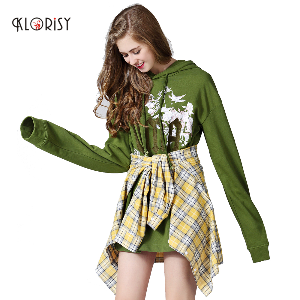 Women Embroidered Letter Pullover Leisure Army Green Long Sleeve Hoodie Fashion clothes Design CKLORISY