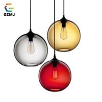 GZMJ Vintage Industrial Pendant Lights Metal Pendant Ceiling Lamp 6 Color Glass Ball Hanglamp Kitchen Restaurant Lights Fixtures