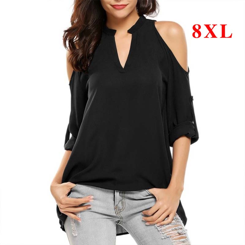Plus Size 8XL   Blouses   Woman 2019 Off Shoulder Top Summer Women Tops and   Blouse   Long Sleeve Chiffon   Blouses   Female V-neck   Shirts