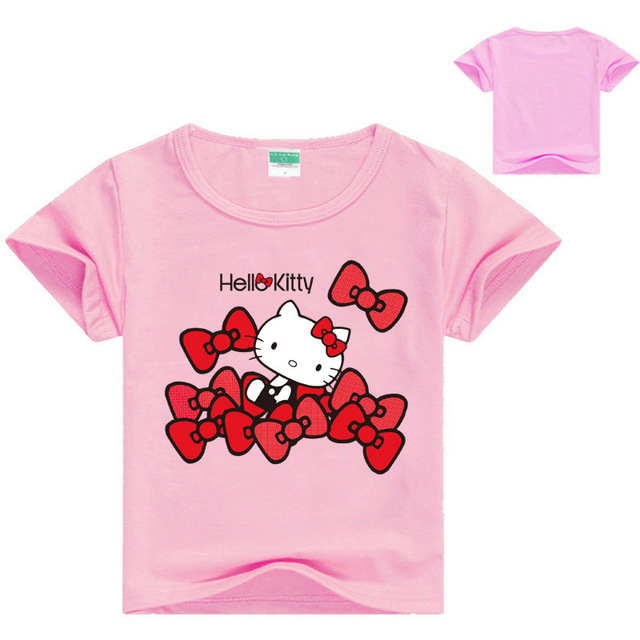 27533b846 Baby Girl Clothing T-shirt Cartoon Pattern Hello Kitty Printing Clothes  Kids Tops Children Summer Casual Costume Baby Girls