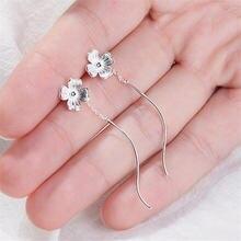 Новые модные серьги с ушками простые из стерлингового серебра