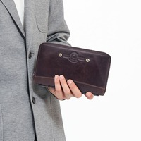 KAVIS Large Capacity Genuine Leather Long Wallet Men Coin Purse Male Clutch Walet Portomonee PORTFOLIO Handy and Cell Phone Bag