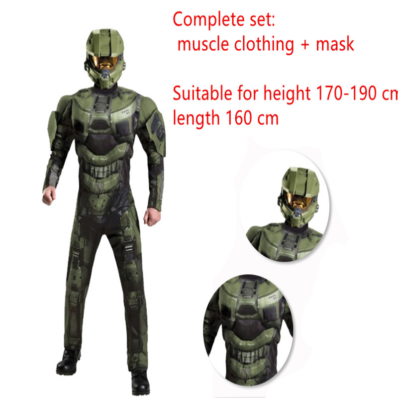 Master Chief Helmet Halo Military Fancy Dress Halloween Child Costume Accessory