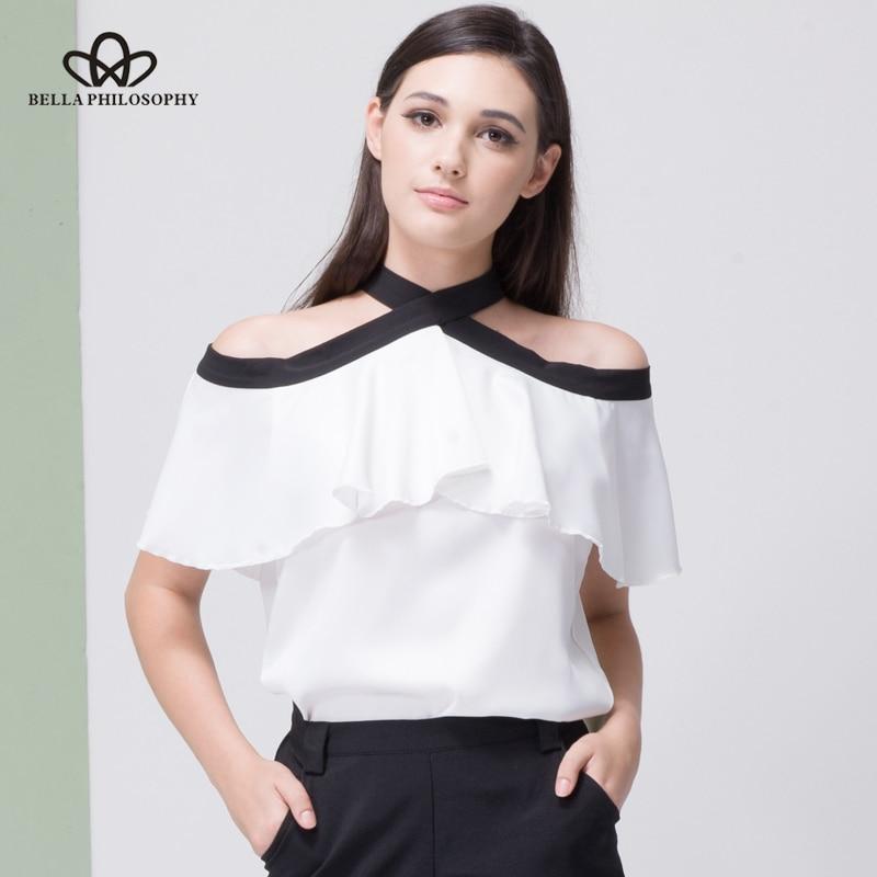 Bella Philosophy 2018 women summer silky chiffon off shoulder bow tie back open ruffles shirt blouse short sleeve