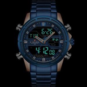 Image 2 - NAVIFORCE relojes deportivos para hombre, reloj Digital LED de cuarzo, de pulsera militar de acero completo, Masculino