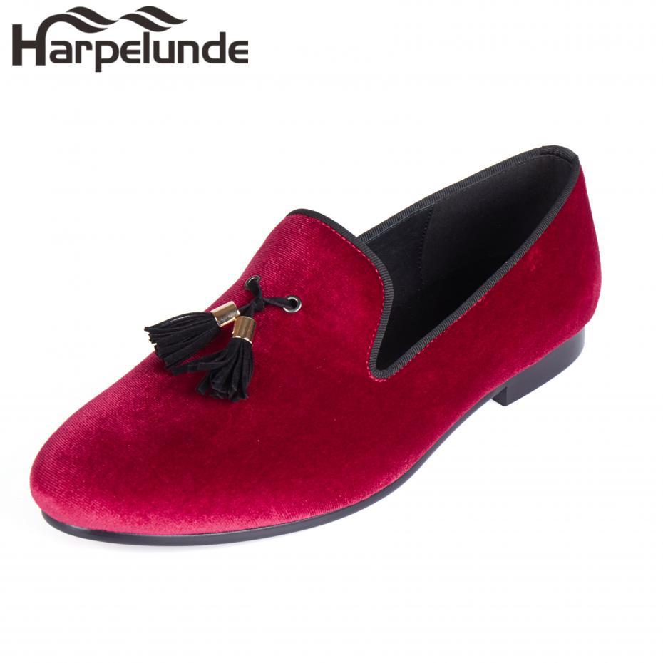 Harpelunde Tassels Män Bröllopsklänning Skor Röd Velvet Loafer Slippers Storlek 6-14