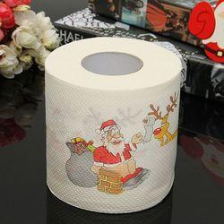 1 рулон Санта-Клауса, печатная Рождественская туалетная бумага, тканевый стол, украшение для комнаты, украшение для рождественской вечеринк...