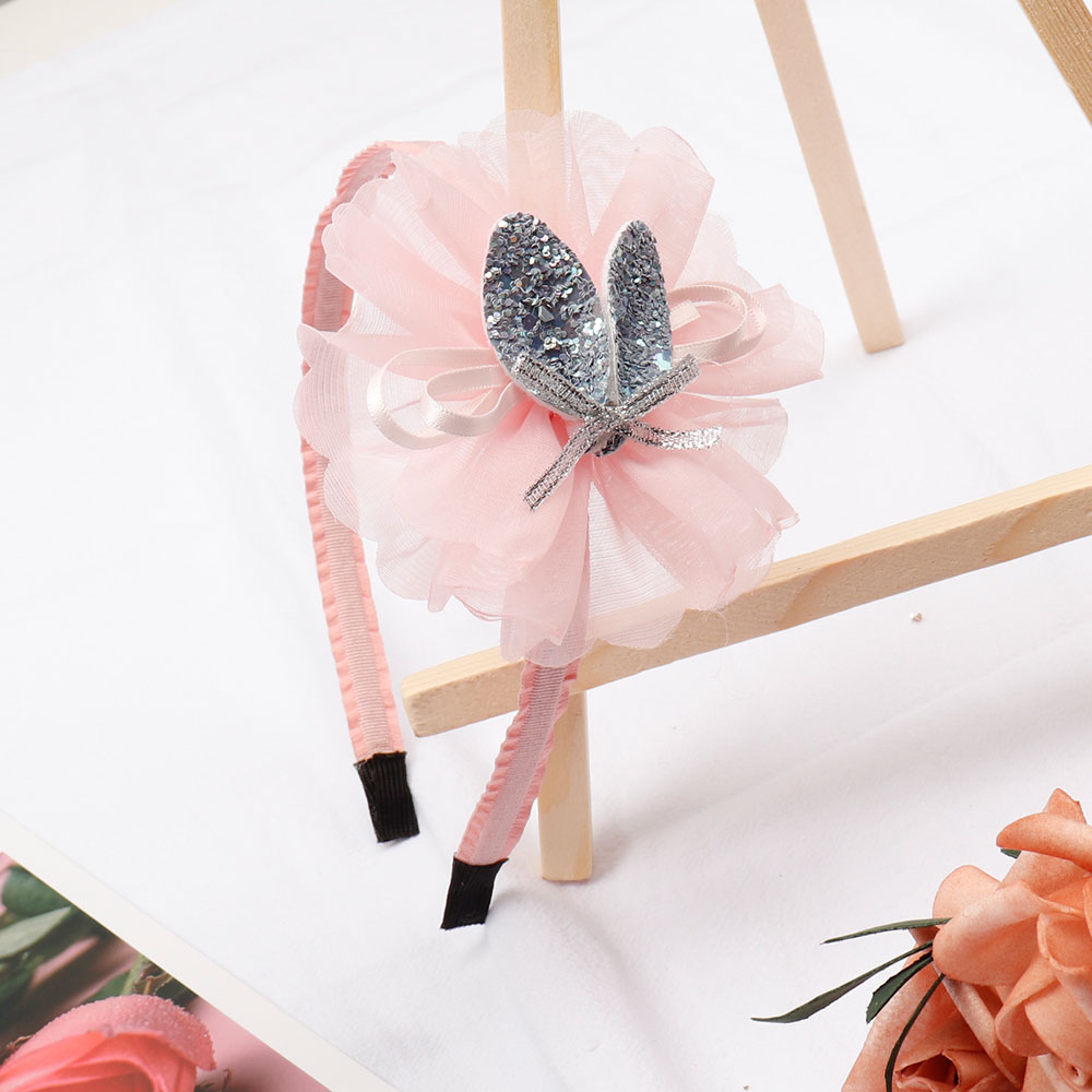 Korean Lace Flower Hair Band Glitter Rabbit Ears Headband Pink Hairbands For Girls Fashion Head Hoop Headwear Hair Accessories