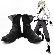 New Bungo Stray Dogs Armed Detective Agency Nakajima Atsushi Cosplay Shoes Black Ankle Boots Halloween Party Shoes Anime Shoe