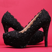 Bridal Lace Night Club Prom Dress Shoes Woman s Wedding Dress Shoes Red Black Pink High