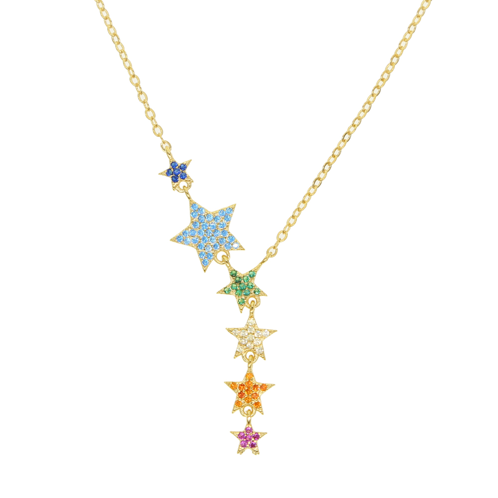 MICRO Pave Colorful Cz Star Charm 6 Pcs Rainbow Zirconia Star Link Chain Y Shape Gold Necklace For Women