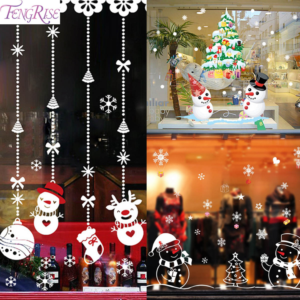 Fengrise santa claus christmas wall sticker new year 2018 for New xmas decorations