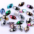 6x12mm Horse Eye Shape Sew On Rhinestone Multi-colored Silver Base Beads Sewing On Leaf / Marquise Stones Two Holes
