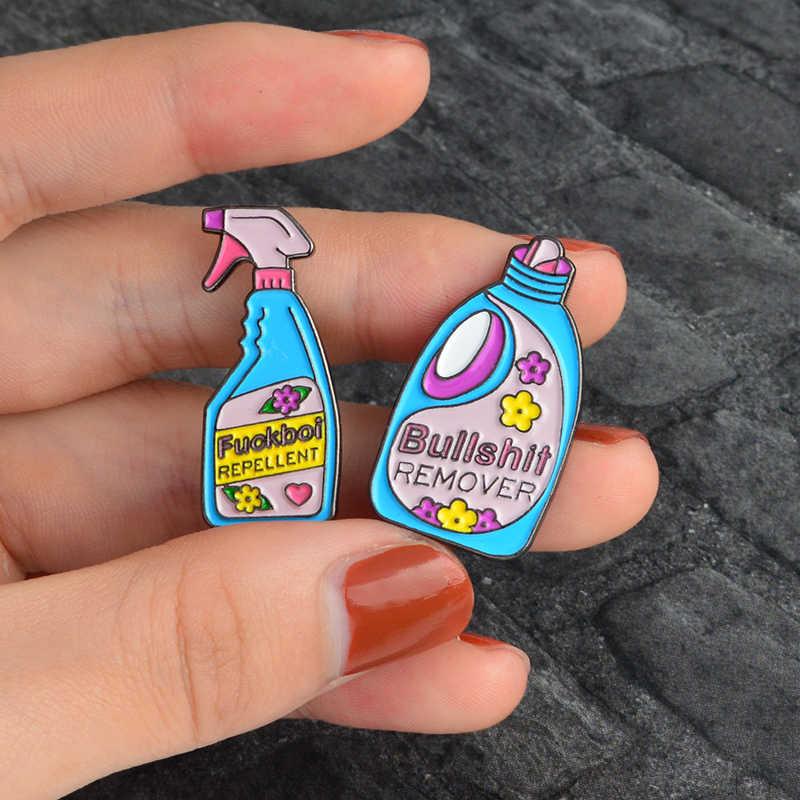 Kartun Pin dan Bros Omong Kosong Remover Anti Lucu Cleaning Denim Tas Lencana Enamel Pin Bros Kerah Pin