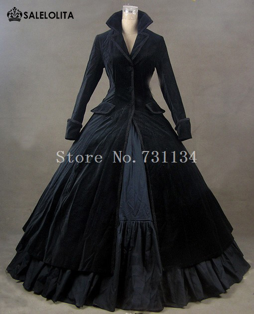 Winter Elegant Black Gothic Victorian Edwardian Dress Medieval Manor Mistress Costume Carnivale Theatre Stage Performance Gown In Dresses From Womens