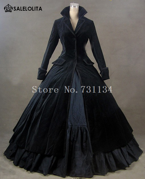 3cc7fa7e47a7 Winter Elegant Black Gothic Victorian Edwardian Dress Medieval Manor  Mistress Costume Carnivale Theatre Stage Performance Gown