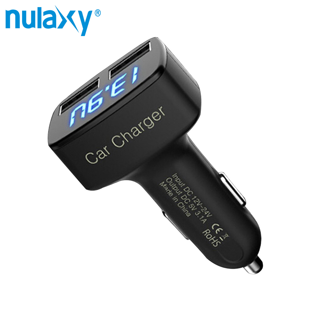 Nulaxy Dual Port USB Car Charger with LED Screen Display Smart Auto Car Charger Adapter Charging for iPhone X 8 Samsung Xiaomi
