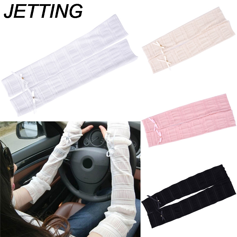 1 Pair Women Sunscreen Gloves Female Summer Long Lace Ice Silk Fingerless Mittens Anti-uv Sun Driving Gloves