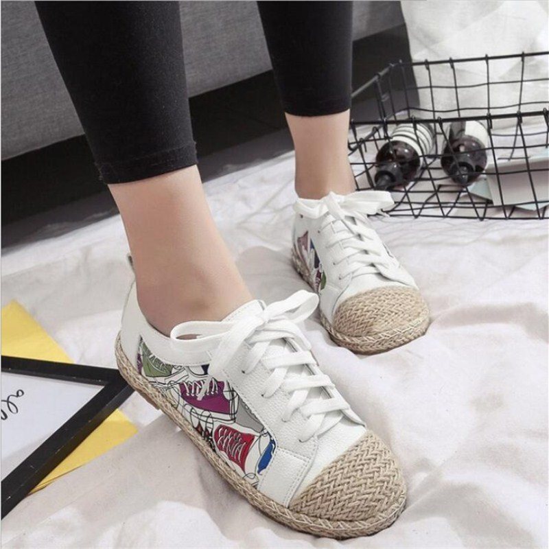 Spring summer 2018 the new cotton flat casual all-match fisherman female models selling folk style printing tie Women's shoes the explosion of the classic all match solid colored body hip high elastic denim pants feet female winter bag mail