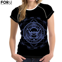 FORUDESIGNS Unique Magic Circle T-Shirt for Women Girl Customize Image Short Sleeve Tee Tops Female Casual Summer Tshirt 2019