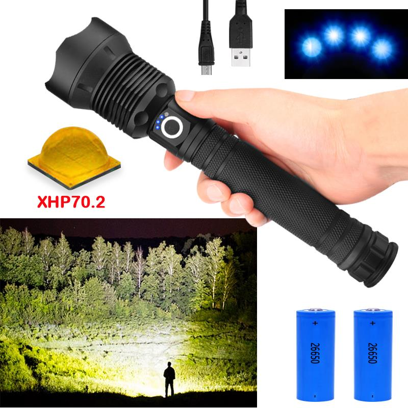 high lumens most powerful LED flashlight XLamp xhp70.2 usb Zoom torch xhp70 xhp50 18650 or 26650 Rechargeable battery hunting