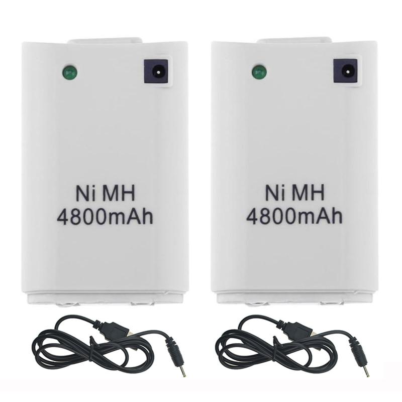 2 шт. x 4800 мАч аккумулятор + 2 x кабель для зарядного устройства для Xbox 360 контроллер батарейный блок Xbox 360 геймпады сменная батарея