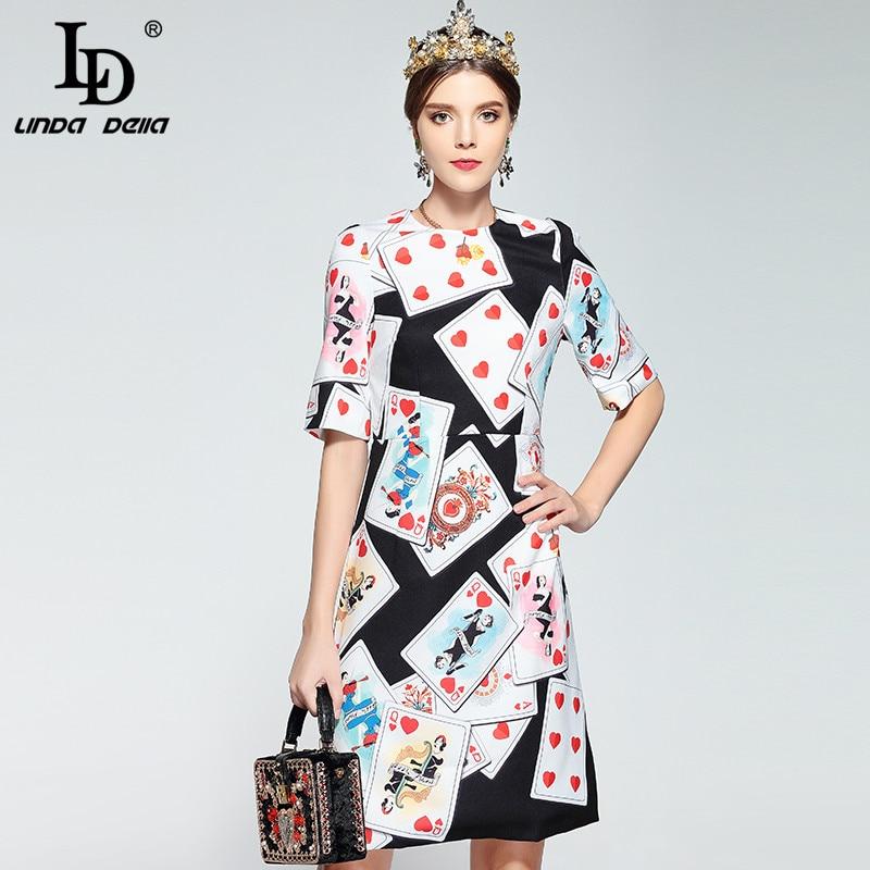 LD LINDA DELLA New Fashion Designer Runway Summer Dress Women's Short Sleeve Playing Cards Print Vintage Dress