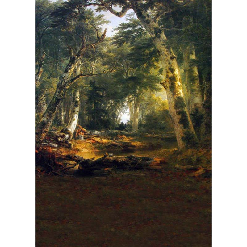 Customize washable wrinkle free rococo painting style forest photography backdrops for photo studio portrait backgrounds S-1258
