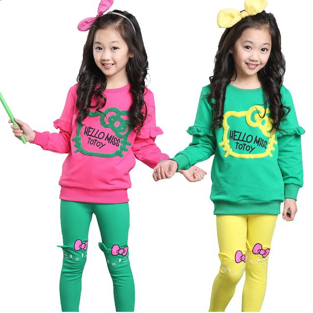 Conjuntos de roupas de primavera 2015 meninas do bebê roupa dos miúdos do algodão doce cor dos desenhos animados outerwear & leggings duas peças terno crianças esportes