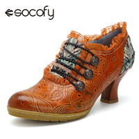 Socofy Vintage Genuine Leather Pumps Women Shoes Retro Bohemian Spring Autumn Zipper Lace Brim Ankle Pumps Ladies Shoes Heels